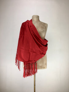 Mexican traditional silk rebozo - bright red