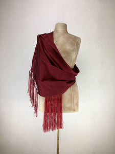 Mexican traditional silk rebozo - burgundy