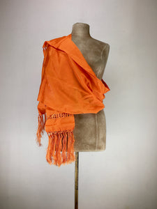 Mexican traditional silk rebozo - orange