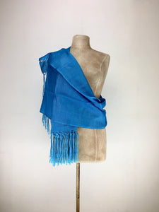 Mexican traditional silk rebozo - light blue