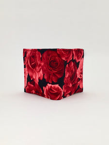 Bright roses print handcrafted billfold wallet