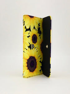 SUNFLOWER floral print handcrafted checkbook wallet