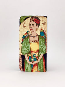 Frida Kahlo and parrot print handcrafted checkbook wallet