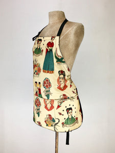 Frida Kahlo inspired print handcrafted double sided apron