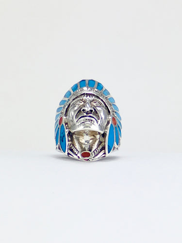 Silver ring CHIEFTAIN blue magnesite inlay