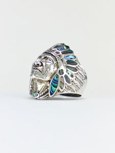 Silver ring chieftain genuine abalone shell inlay