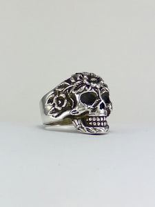 Miquiztli  skull and flowers sterling silver skull ring