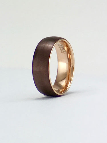 Rose gold domed tungsten ring 8mm