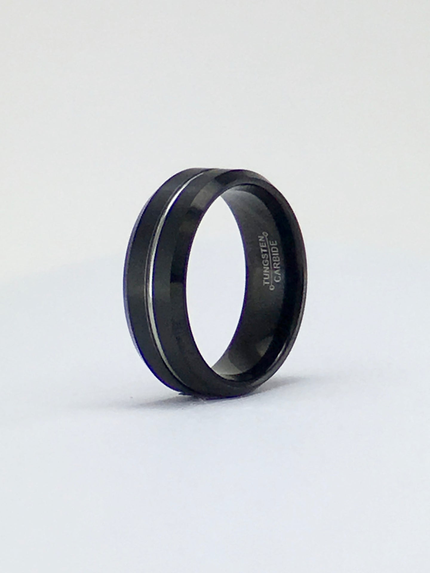 Black tungsten with central contrasting groove band 8mm