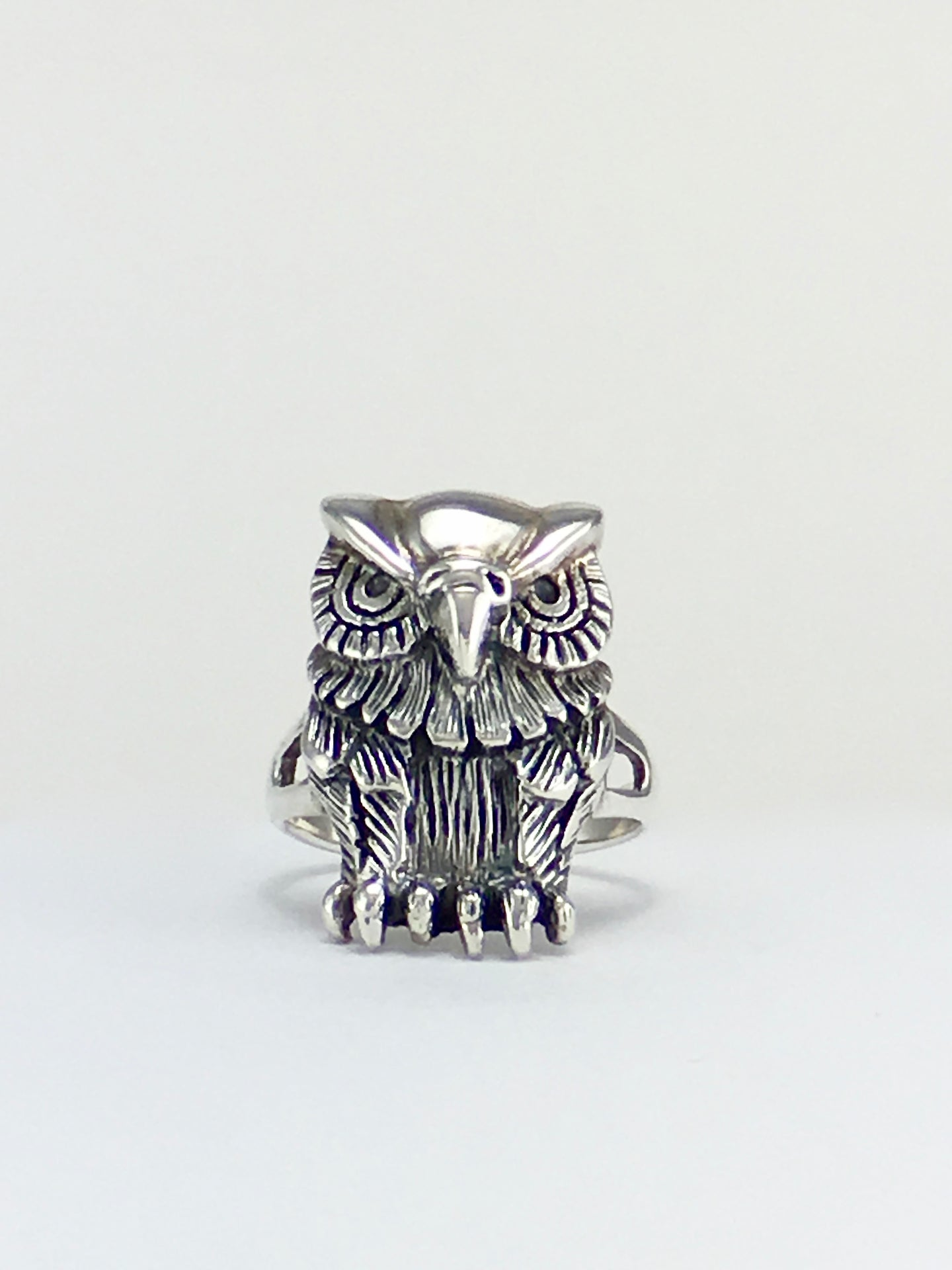 Silver ring Native American Tecolote búho owl ring