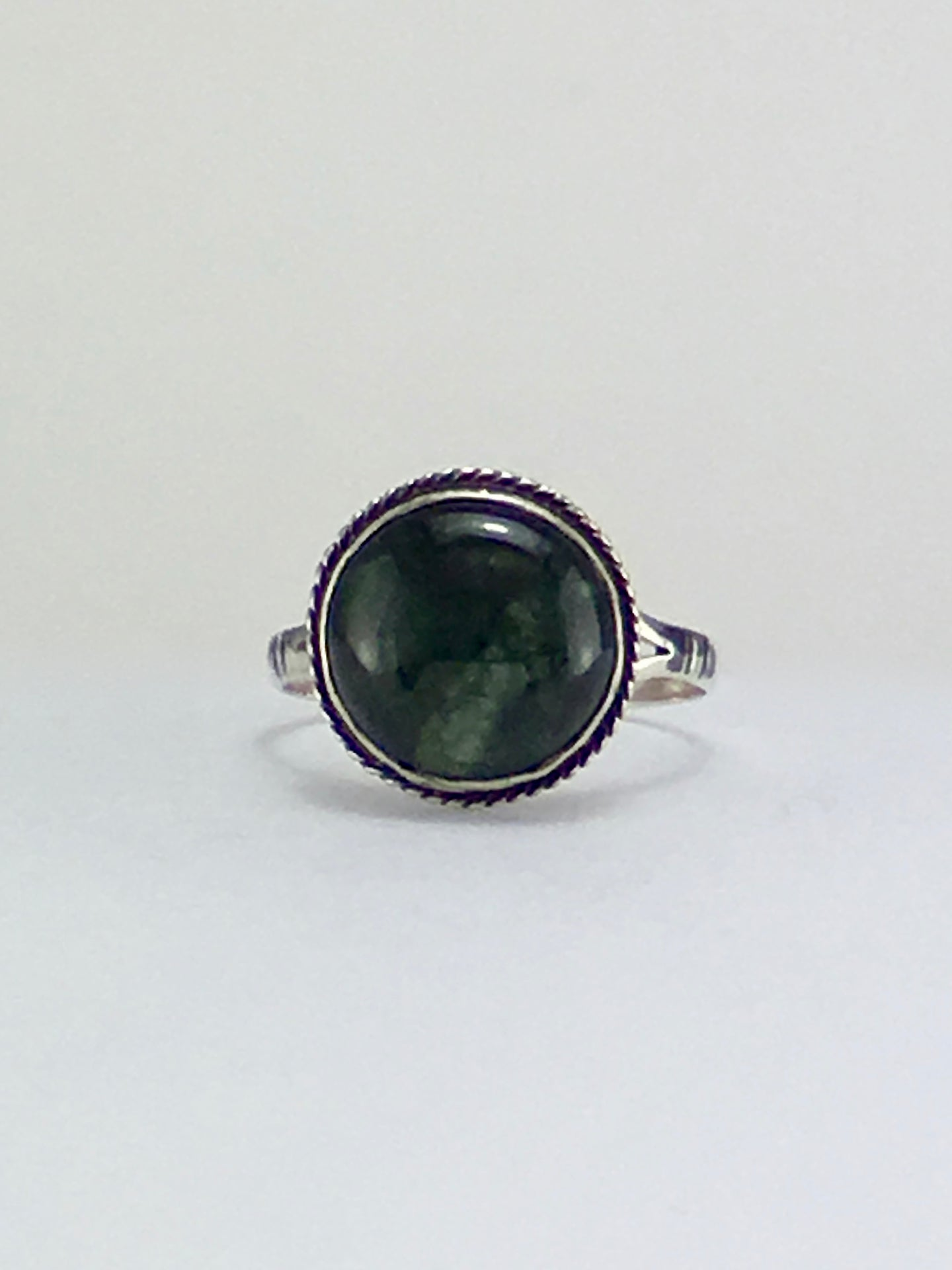 Dark green jade round cabochon sterling silver cocktail ring one of a kind.