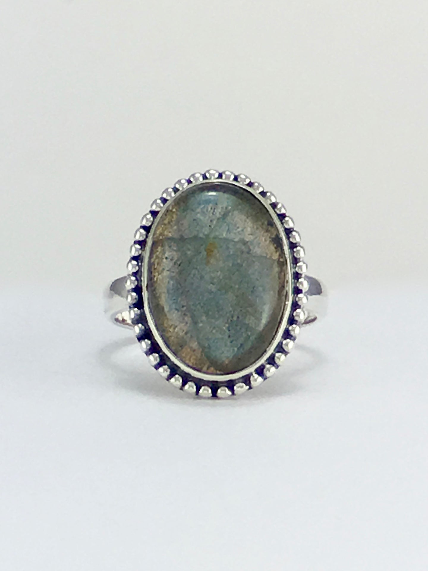 Blue flash Labradorite cabochon sterling silver cocktail ring