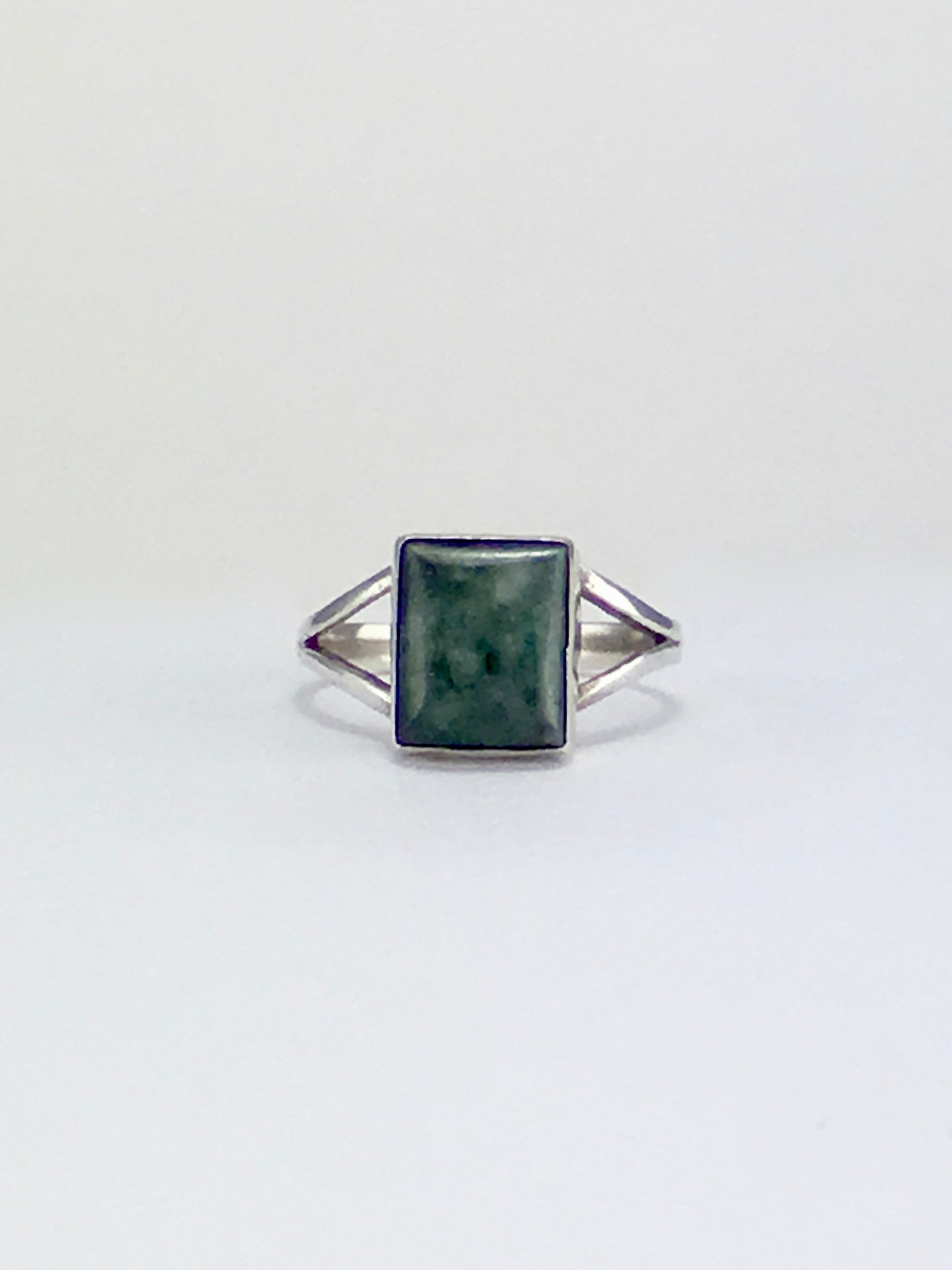 Square cabochon modern jade cocktail ring