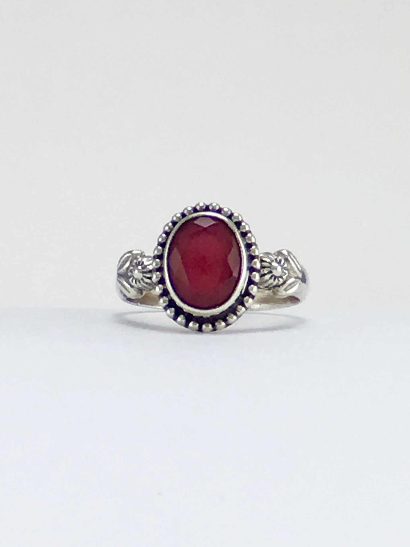 Vintage style floral design ruby ring