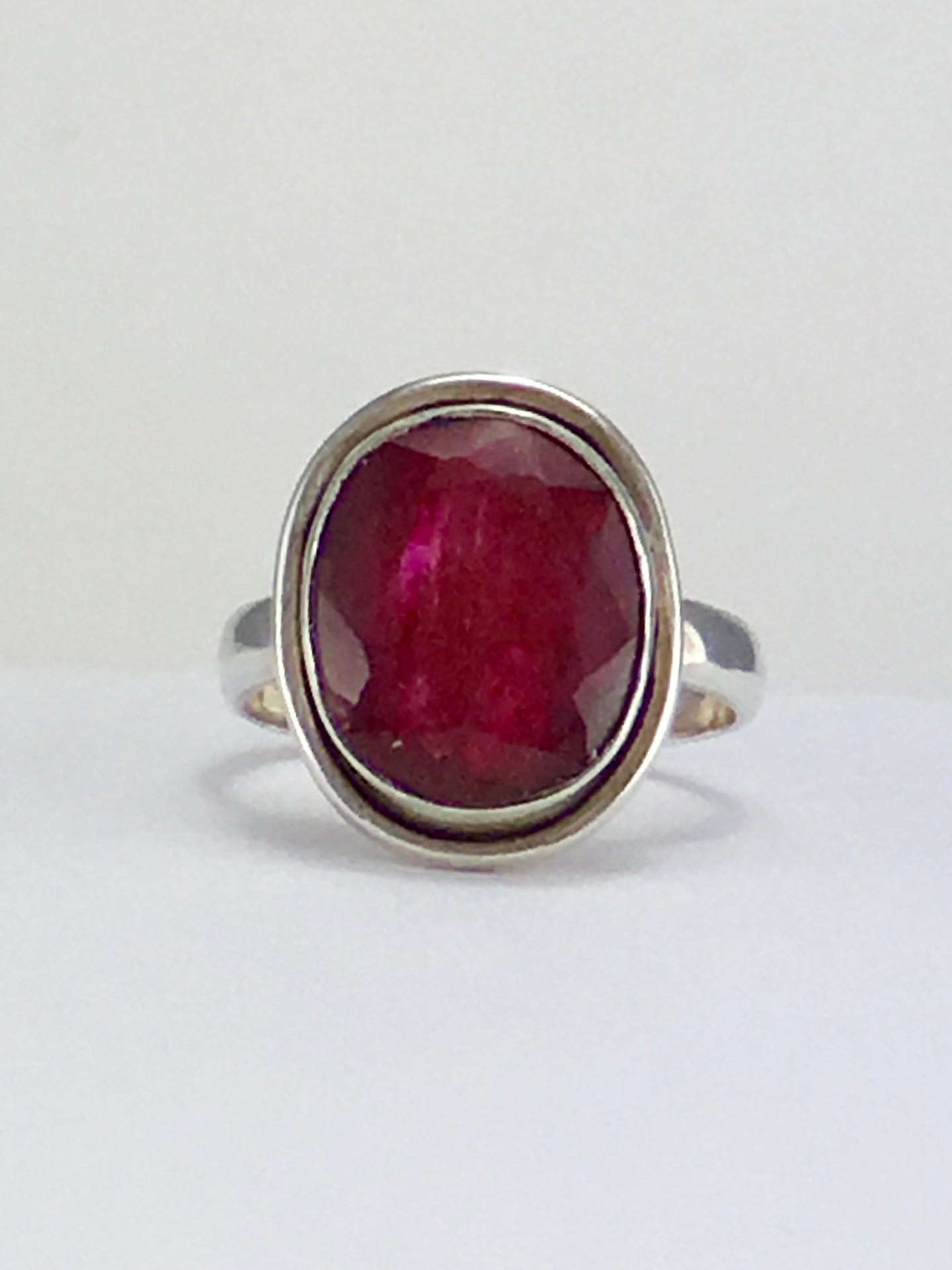 Oval ruby sterling silver cocktail ring