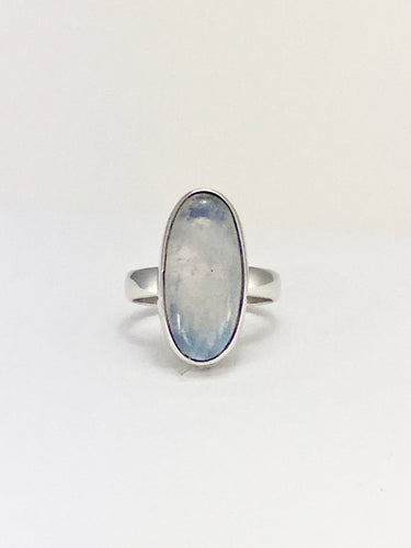 Rainbow moonstone oval cabochon ring