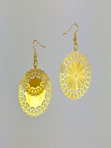 Golden lace dangle earrings