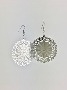 Silver lace dangle earrings