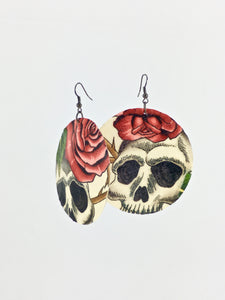 Large shell handcrafted dangle earrings skulls and roses print beige