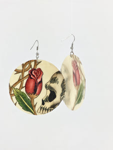Large shell handcrafted dangle earrings Skulls and rose bud print in beige