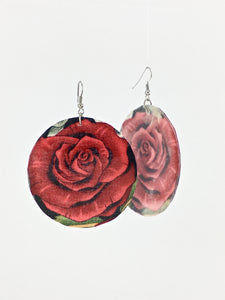 Large shell handcrafted dangle earrings Roses print classic red