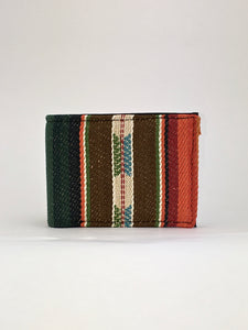 Brown and green sarape woven textile handcrafted billfold wallet