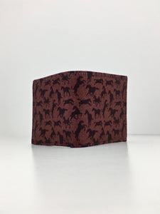 Brown on brown horses print handcrafted billfold wallet