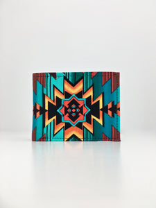 Fire water 2 geometric Native American print handcrafted billfold wallet