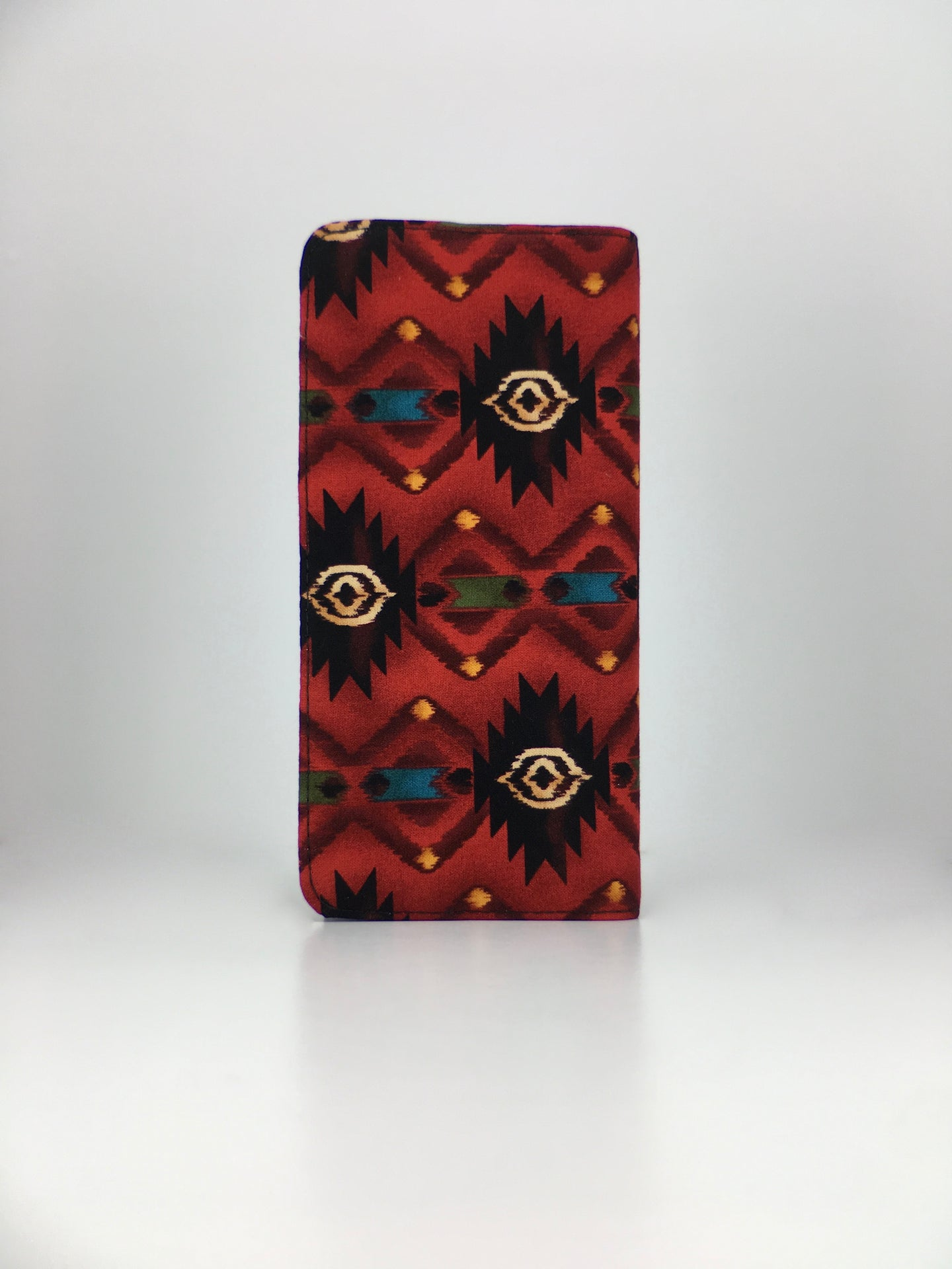 Geometric Native American red print handcrafted checkbook wallet