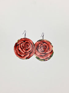 Large shell handcrafted dangle earrings Roses print vintage pink