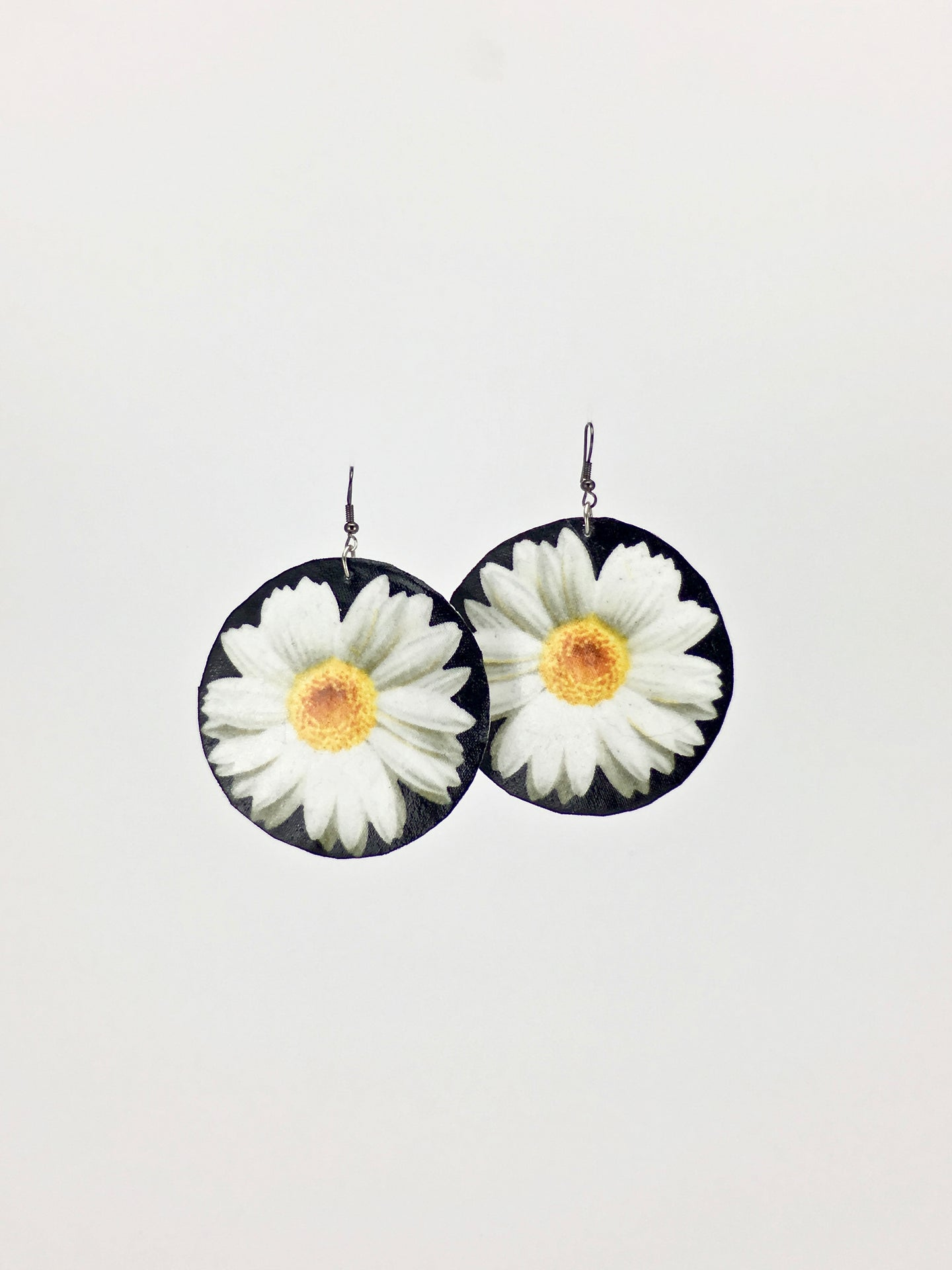 Large shell handcrafted dangle earrings Happy Daisies print
