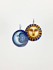 Large shell handcrafted dangle earrings Sun and Moon print
