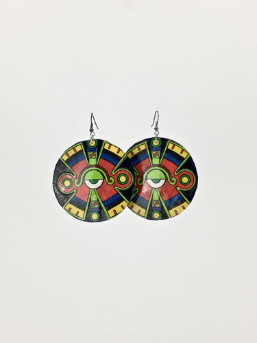 Large shell handcrafted dangle earrings Ollin print