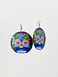 Large shell handcrafted dangle earrings Sugar Skull print blue