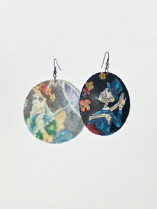 Large shell handcrafted dangle earrings Dancing Catrinas print