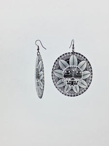 Large shell handcrafted dangle earrings Kulkulcan print