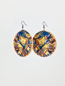Large shell handcrafted dangle earrings Coyolxauhqui Moon Goddess print