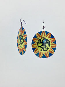 Large shell handcrafted dangle earrings Cuitlahuac pantli print