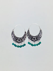 Floral arracadas vintage floral design sterling silver and turquoise hoop earrings