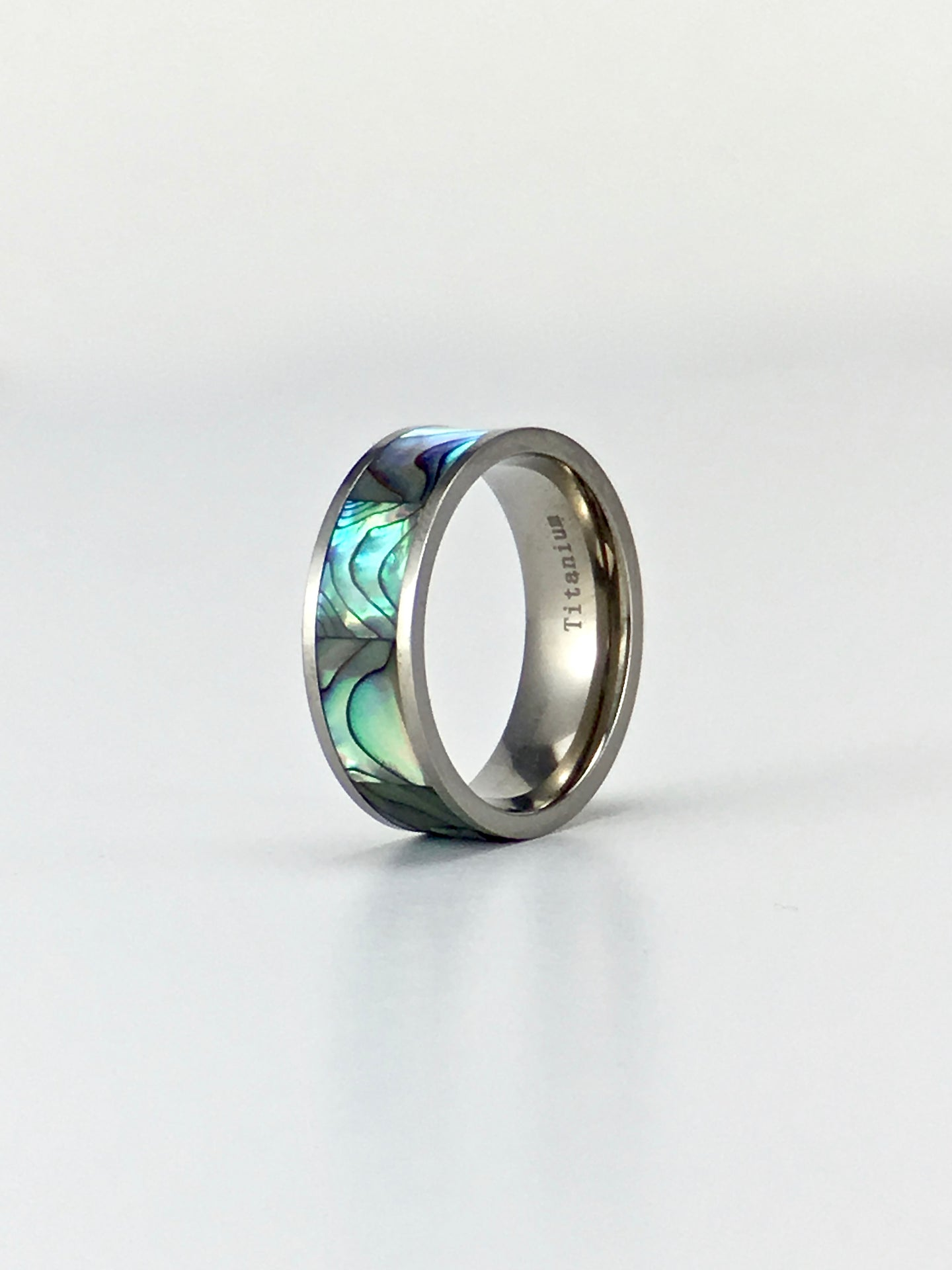 Rainbow abalone shell inlay titanium ring Ti450 8mm