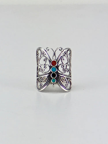 Multi color butterfly filigree ring