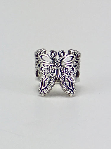 Floral butterfly sterling silver ring