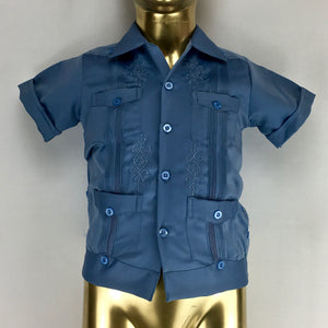 Guayabera tradicional short sleeve KIDS in denim blue sateen