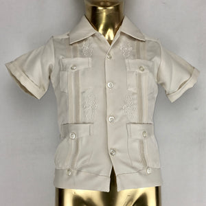 Guayabera tradicional short sleeve for KIDS in off white sateen