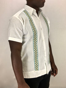 Fine linen button down short sleeve chasarilla guayabera white + green gold cross-stitch