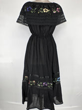 Off the shoulder hand embroidered traditional Mexican maxi dress one size