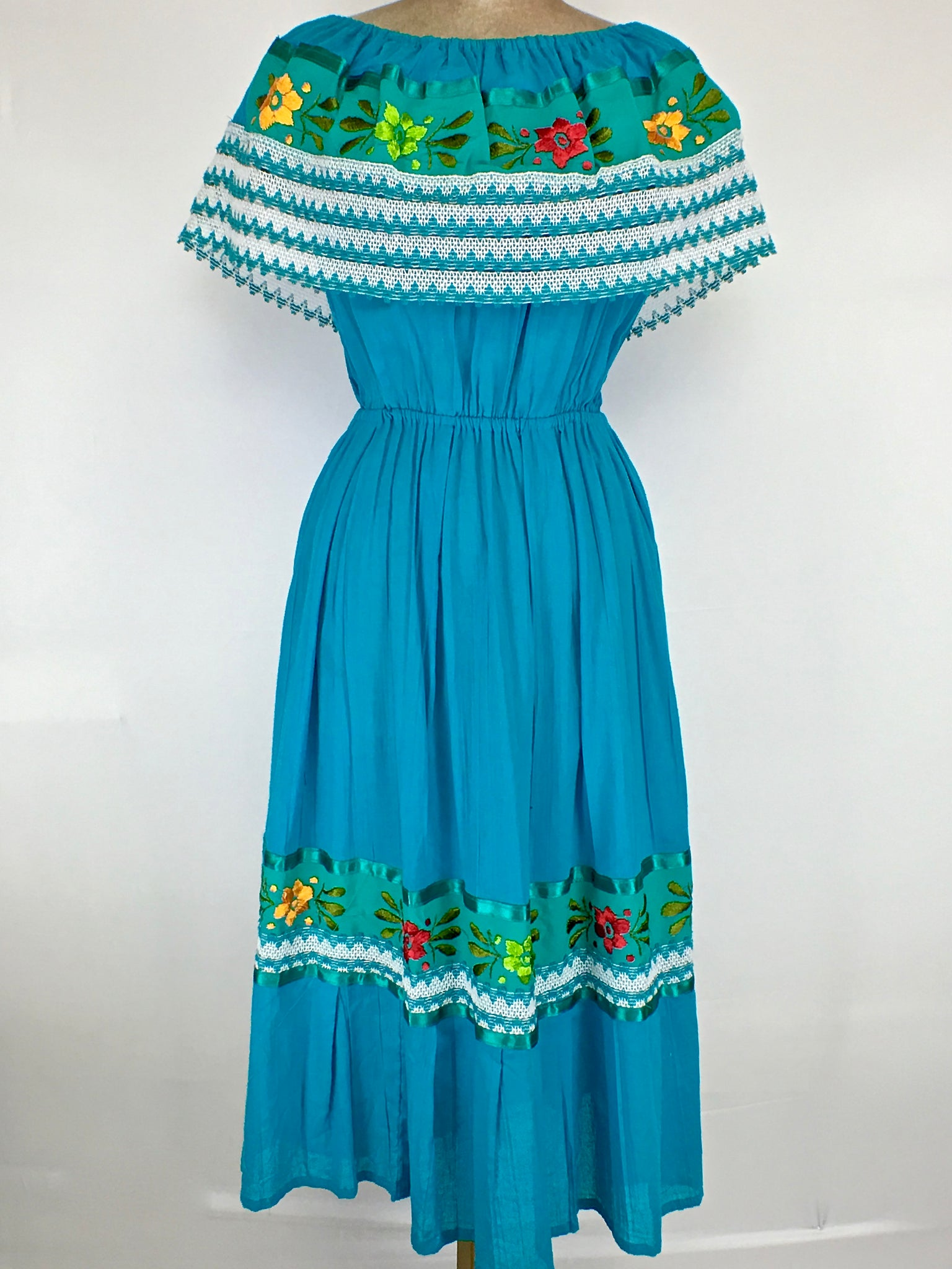 Teal Mexican Dress ONE SHOULDER Off Shoulder Embroidered One Size Fits S through XL