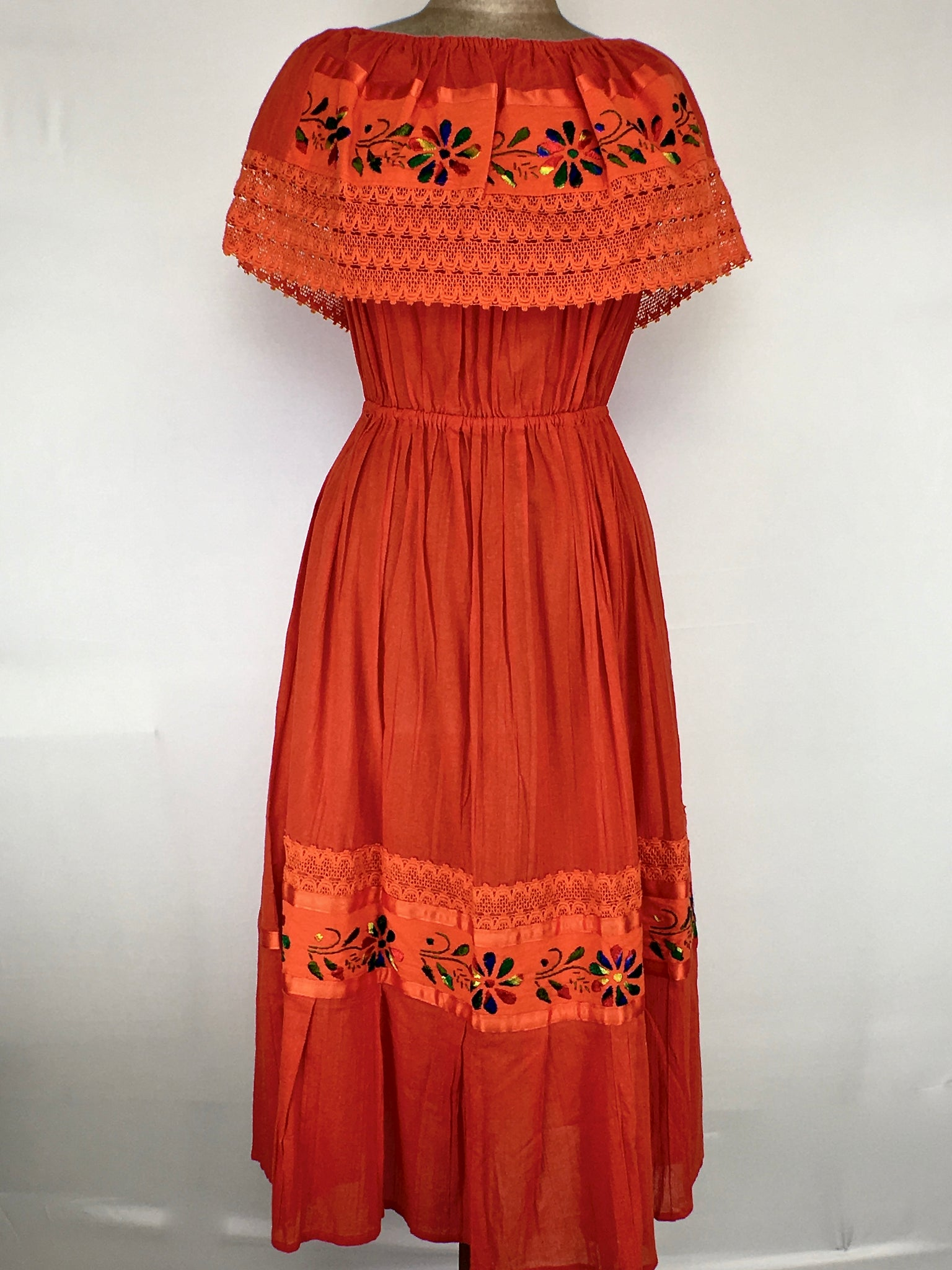 e6509280146e ... Off the shoulder hand embroidered traditional Mexican maxi dress one  size ...
