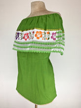 Off the shoulder traditional Mexican embroidered top - green