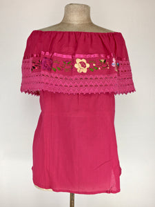 Off the shoulder traditional Mexican embroidered top - hot pink